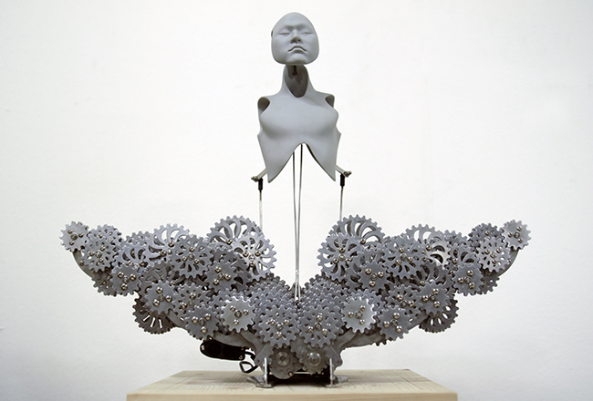 res-Ziwon Wang,Mechanical Buddhahood,2014, Urethane, metallic material, machinery, electronic device(CPU board, motor), 58x25x45. Edition of 3, Image courtesy of Hanmi Gallery