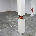Shan Hur, Ball in the Pillar, 2011. Concrete, plywood, timber and basket ball,