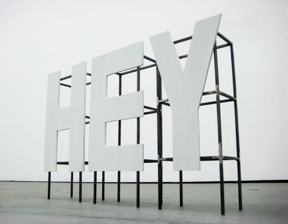 HEY, 2011. Steel, MDF, 38 x 22 x 10 cm