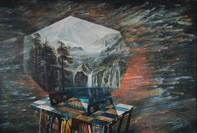 Jeoff Litherland, I'll Cry Diamonds While you Burn, 2011. Oil on Canvas, 100 x 140 cm.