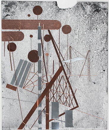 _Jeehee Park, Drawing (mixed media collages), 2014. Copper tapes and zinc plates on paper (1)