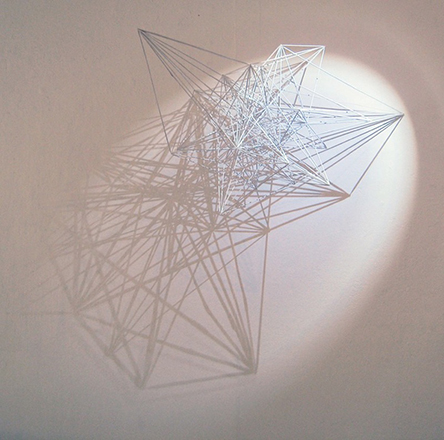 Mona Choo, Between Dimensions, 2012. Bamboo skewers, glue, paint, (Approx.) 65 x 65 x 85 cm.