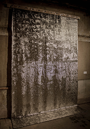 Myrianthe G. Sozou, MicroOptasia II, 122, 400 silver drawing pins on transparent PVC, approx. 300 x 200cm, 2013.