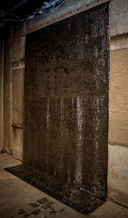 2Myrianthe G. Sozou, MicroOptasia II, 2013, 122, 400 silver drawing pins on transparent PVC, approx. 300 x 200cm (1)