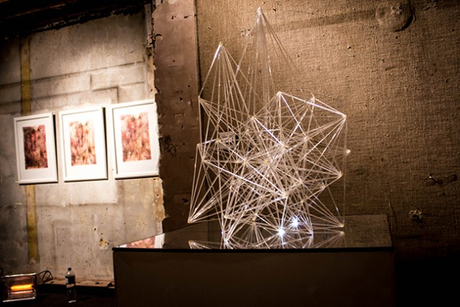 Mona Choo, Web of Consciousness, 2013. Acrylic rods, glue, resin, fibre-optic strands, batteries, LED lights, wire, mirror panel, approx. 60 x 65 x 80cm.