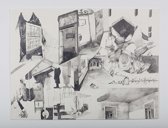 Rebecca Byrne, StudioGeometries, 2013. Pencil and Graphite on Paper, 46x62cm.