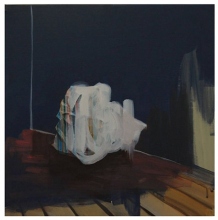Eun Sook Choi, A sheet of paper or a shit of idea in the corner, 2012. Oil on Canvas, 14.6  x 14.6 x 0.4 in.