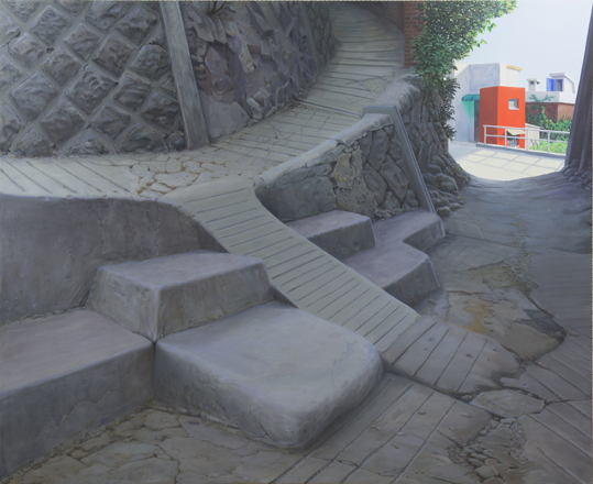 "Ingo Baumgarten, ""Untitled (concrete steps in mountain alley, Mokpo)"", 2015, Oil on canvas, 180 x 220 cm."