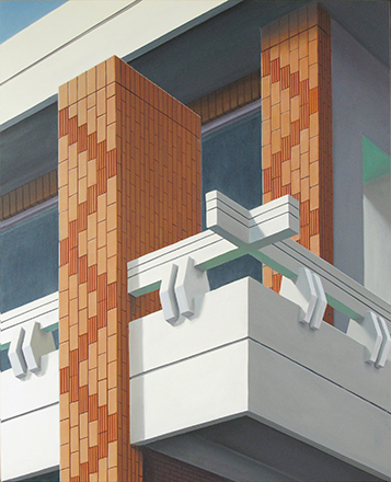 "Ingo Baumgarten, ""Untitled (Brick deco, Jutaek decoration, Jeongnam dong, Seoul)"", 2012, Oil on canvas, 80 x 100 cm."