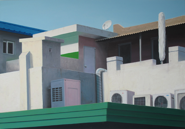 "Ingo Baumgarten, ""Untitled (rooftop house, pasasol, Seogyodong, Seoul)"", 2013- 14, Oil on canvas, 100 x 140 cm."