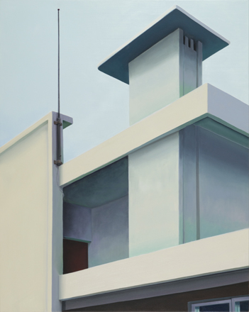 "Ingo Baumgarten, ""Untitled (chimney, jutaek house, Yeonnamdong, Seoul)"", 2014, Oil on canvas, 100 x 80 cm."