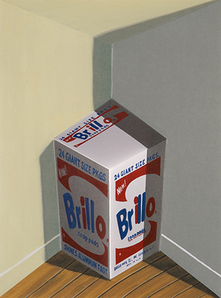 "Patrick Hughes, ""Brillo"", 2008, Hand painted multiple with litography, 42.5 x 34.5 x 17 cm. Edition 22/35."