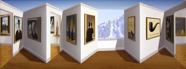 "Patrick Hughes, ""Marvellous Magritte"", 2014. Oil on board construction, 29 x 77 x 11 cm. Unique."