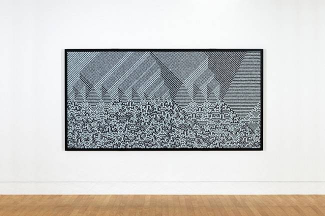 Troika, Calculating the Universe Series 2, #3 , 2014. 23,940 Black and White Dice, 135 x 182 x 4.7 cm.