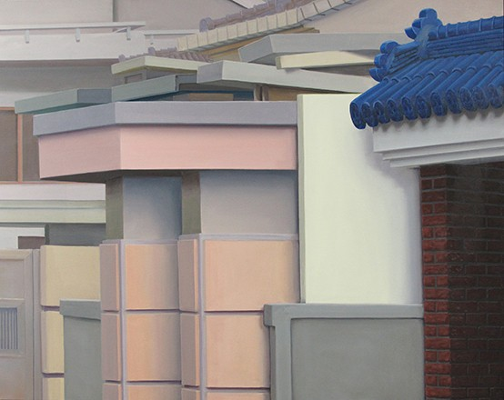 Ingo Baumgarten, untitled (blue tiled roof, jutaek decoration, Jeongnamdong, Seoul), 2012. Oil on canvas, 80 x 100 cm.