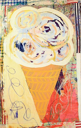Leonard Johansson, Sprinkle Soft cone, 2015. Collage Fabrics,Acrylic, Oil, 160 x 100 cm.