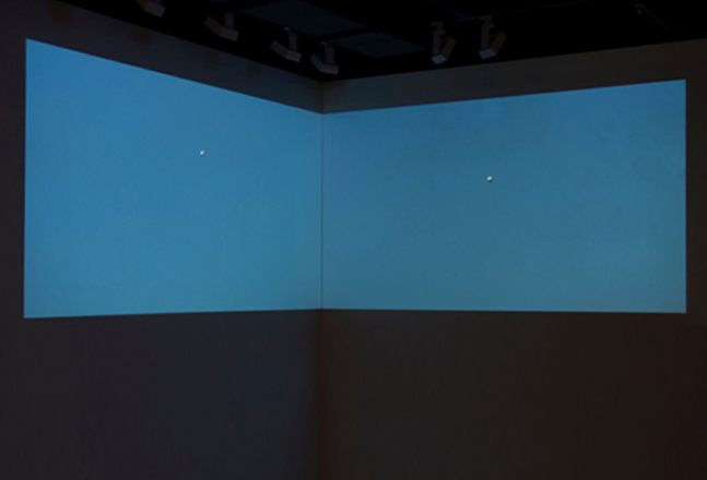 SinSinSoft, Distance of Straight Line to Point, 2017, 2-channel video and sound installation