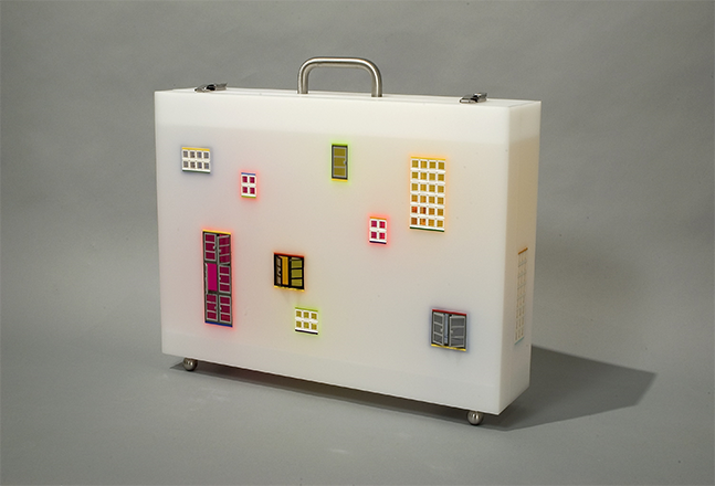 Jaye Moon, My Neighborhood, 2005, Lego, Plexiglas & Stainless Steel, 56 x 71x 25 cm