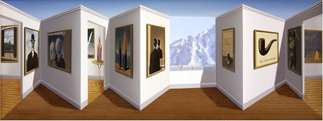 Patrick Hughes, Marvellous Magritte, 2014. Oil on board construction,  29 x 77 x 11 cm. Unique.