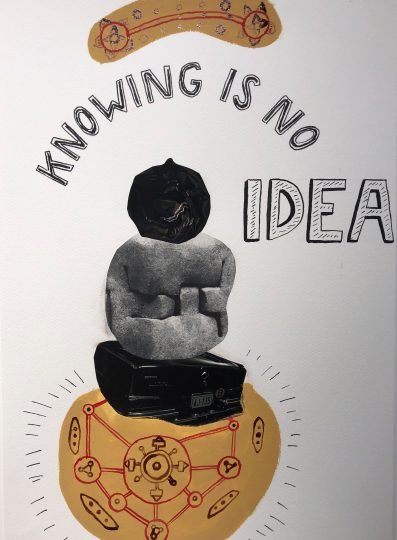 Ole Hagen, Knowing Is No Idea, 2017, ink, gouache, collage, 50x40cm