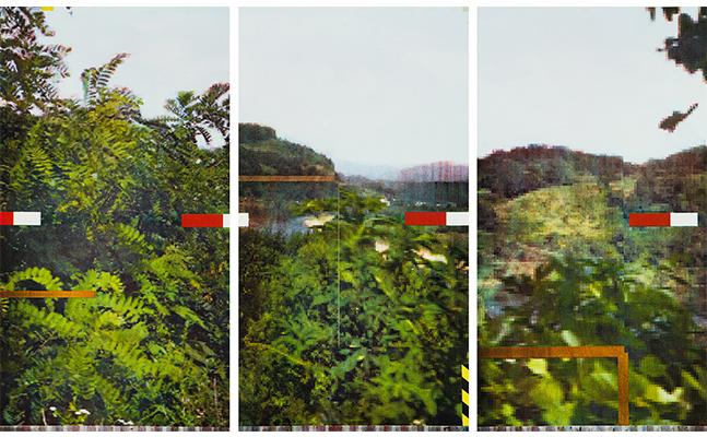 Jimin Lee, Yeoncheon 1, 2018, Laser-cut woodblock and Inkjet printing, triptych 91.4 x 152cm, ed. 5