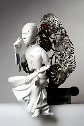 09-01-ø'¡ˆø¯-buddha_z__urethane, metallic material, machinery, electronic device (CPU board, motor)_size 40(h) x 230(w) x 20(d)cm_2009