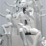 """Ziwon Wang, """"Mechanical Xanadu L"""", 2011, urethane, metallic material, machinery, electronic device (CPU board, motor), 60 x 50 x 78 cm."""