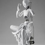 """Ziwon Wang, """"Pensive Mechanical Bodhisattva"""", 2010, urethane metallic material, machinery, electronic device (CPU board motor), 74 x 30 x 40 cm."""