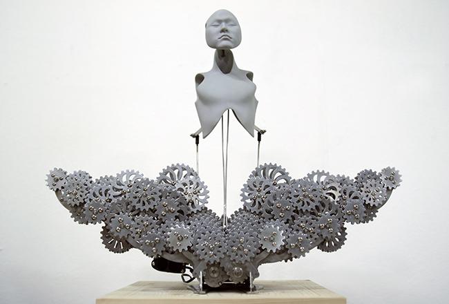 res-Ziwon Wang,Mechanical Buddhahood,2014, Urethane, metallic material, machinery, electronic device(CPU board, motor), 58x25x45. Edition of 3, Image courtesy of Hanmi Gallery