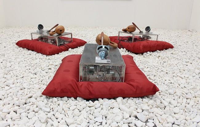 "Sangjin Kim, ""Meditation"", 2013, Moktak, speaker, Sitting Matt, Mixed Media, Size adjustable."