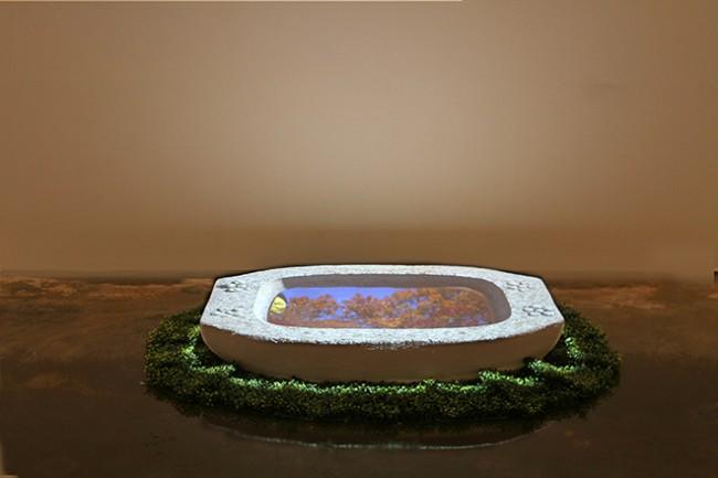 """Chang Kyum Kim, """"Watershadow,  Four Seasons, 2"""", 2013-14, Video Installation, approx 14 mins, 110 x 29 x 20 cm."""