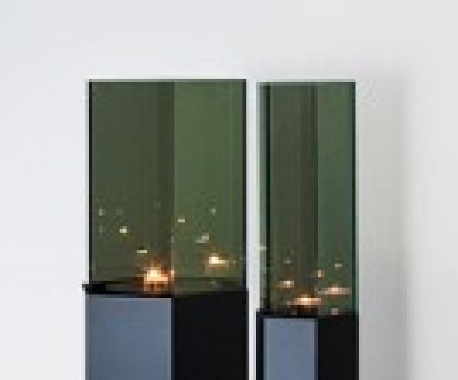 "Hyekyung Cho, ""Responsive Rhythm"", 2010, Steel, Reflection Glass, Candlelight. L: 27.8 x 23.7x 125cm S: 13.4 x 15.7 x 125cm."