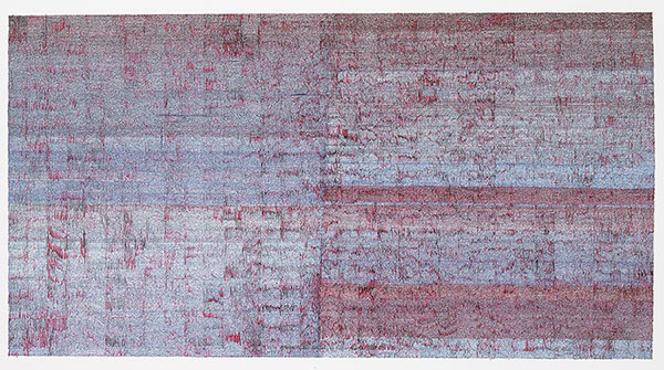 "Aisha Abid Hussain, ""Traces of Blood of My Love"", 2010, Watercolour ink on Wasli , 91.44 x 121.92 cm."
