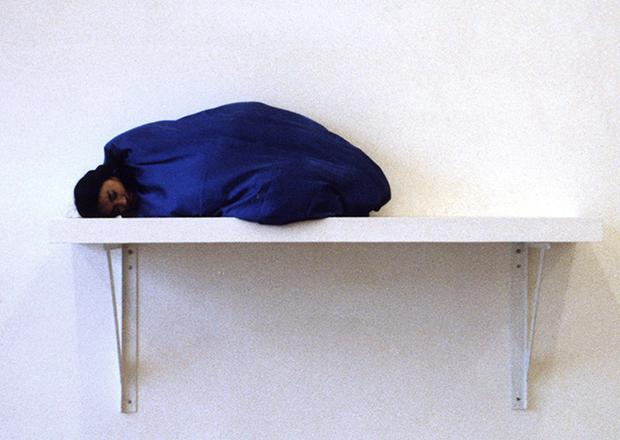 Yingmei Duan, Sleeping, 2004. Performance installation. Hochschule fuer Bilende Kuenste Braunschweig, Germany. Photograph Anna Berndtson & Melati Suryodarmo